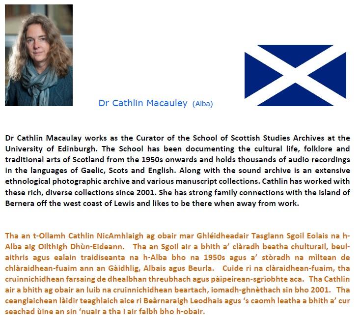 Dr Cathlin Macauley speaker for Alba